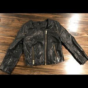 H&M Black Faux Leather Jacket Size 4